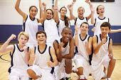 Portrait Of High School Sports Team In Gym