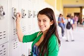 Female High School Student Opening Locker