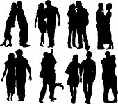 foto of hughes  - Set of happy couple silhouettes - JPG