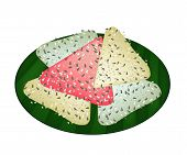 Thai Coconut Pancake on Green Banana Leaf