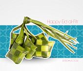 Vector Muslim Ketupat (Rice Dumpling) with Clipping Path. Translation: Happy Eid al-Fitr ( Feast of