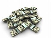 picture of bundle money  - 3d rendered illustration of bundles of dollar notes - JPG