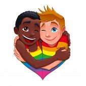 Born this way. Funny gay couple, vector isolated character.