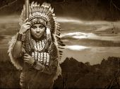 stock photo of spears  - a warrior Native American woman with a spear in black and white - JPG