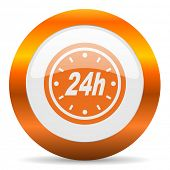 24h computer icon on white background