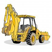 An image of a backhoe loader vehicle.