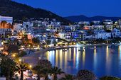 BODRUM, TURKEY - APRIL 11, 2014: Night view to the city. Bodrum is famous for housing the Mausoleum of Halikarnassus, one of the Seven Wonders of the World