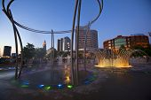 COLUMBUS, OHIO - JUNE 6, 2014:   Bicentennial Park in downtown Columbus offers a refreshing break fr