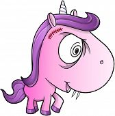 pic of insane  - Crazy Insane Unicorn Pony Vector Illustration Art - JPG