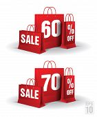 Shopping bag printed with a sixty and seventy discount. Vector. Isolated.