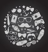 Set of fashionable men's accessories. vector illustration backdrop