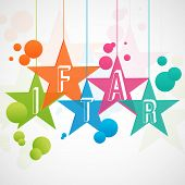 Colorful hanging stars with text IFTAR on creative abstract background.