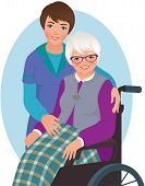 stock photo of hospice  - Illustration of senior woman sitting chair and nurse - JPG
