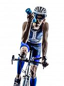 man triathlon iron man athlete biker cyclist bicycling biking in silhouette on white background