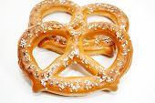 picture of pretzels  - Two Soft Baked Pretzels Isolated Over a White Background - JPG