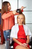 Hair Salon. Womens Haircut. Use Of Hair Dryer.