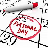 picture of sabbatical  - Personal Day circled on a calendar to remind you of your special time off or vacation date - JPG