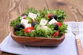 Mediterranean Salad, Gigantic Black Olives, Sheeps Cheese
