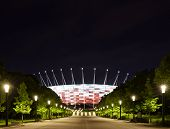 National Stadium In Warsaw By Night, Poland