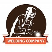 vector illustration of a Welder at work welding , for company