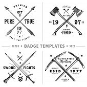 Vector retro anchor badge template set. Easy to edit, all pieces are separated.