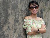 Woman Wearing Black Sunglasses poster