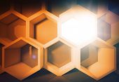 Abstract Yellow Honeycomb Structure Background With Light