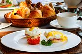 Eggs Benedict served for delicious breakfast