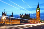 image of london night  - Houses of Parliament and clock tower Big Ben in London at night - JPG