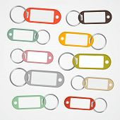Key Labels Set with Rings Isolated on White Background