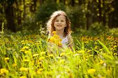 Little Girl With A Bouquet Of Dandelions
