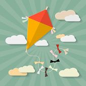 Retro Vector Paper Kite on Sky with Clouds Illustration