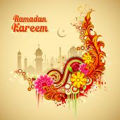 illustration of Ramadan Kareem (Generous Ramadan) background with mosque