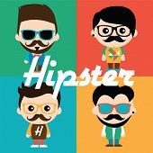 Cute illustration of characters in hipsters