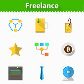 Flat vector icons for freelance and business