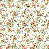 Seamless pattern with pink and white roses