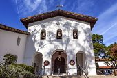 stock photo of anjou  - Mission San Luis Obispo de Tolosa Facade Cross Bells Christmas Wreaths San Luis Obispo California - JPG
