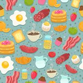 Cute seamless pattern with breakfast food