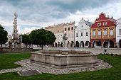 Main square in Telc, UNESCO city in Czech Republic