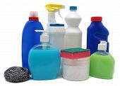 Detergent bottles isolated  white. Chemical cleaning supplies