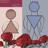 Fancy Flower Card With A Pair Of Symbols Male And Female.