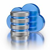 Remote database cloud computing technology storage concept - metal icon database icon and blue gloss