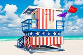 picture of lifeguard  - Lifeguard tower in South Beach - JPG