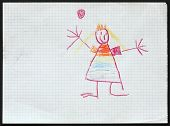 Original child's drawing of a princess drawing by a five-year-old girl.