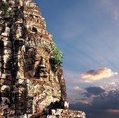 Angkor Wat Cambodia. Bayon temple in Angkor Thom historical place