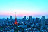 Top View Of Tokyo Cityscape At Sunset
