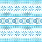 Winter, Christmas blue seamless pixelated pattern with snowflakes