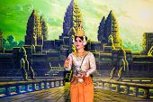 Siem Reap, Cambodia - May 3, 2014: Khmer Classical Dancers Performing In Full Traditional Costumer M