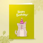 Happy Birthday postcard template with a dog.