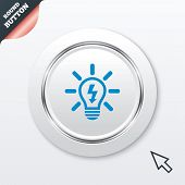 Light lamp sign icon. Bulb with lightning symbol
